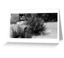 Reaching For Bubbles Black and White Greeting Card