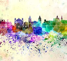 Valletta skyline in watercolor background by Pablo Romero