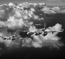 Mosquitos above clouds, black and white version by Gary Eason + Flight Artworks