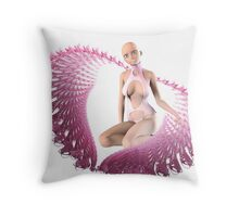pink alien wings Throw Pillow