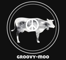 GROOVY MOO t shirt trippy peace cow love by alpenmama