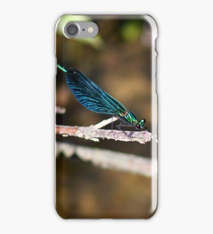 Calopteryx virgo ,  Blauflügel-Prachtlibelle  iPhone Case/Skin