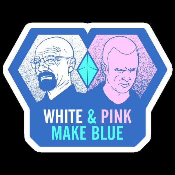 White & Pink Make Blue Sticker by Tom Burns