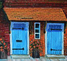 Oil Painting - Blue Doors in the Tower of London. 2012 by Igor Pozdnyakov