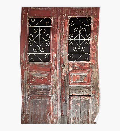 Weathered Red Wood Rustic Door with Peeling Paint Poster