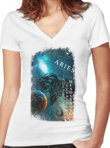 Aries- Independent, Creative and Headstrong Women's Fitted V-Neck T-Shirt