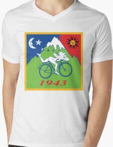 LSD Acid Hofmann Bike ride Blotter Art Psychedelic Mens V-Neck T-Shirt