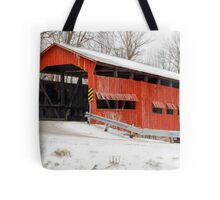 Dunbar Covered Bridge with Snow Tote Bag