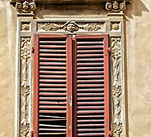 Weathered Red Wood Window Shutters of Tuscany  by David Letts