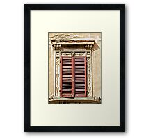 Weathered Red Wood Window Shutters of Tuscany  Framed Print