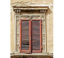 Weathered Red Wood Window Shutters of Tuscany  Photographic Print