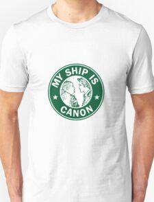 Starbucks/My Ship Is Canon- Sterek Unisex T-Shirt