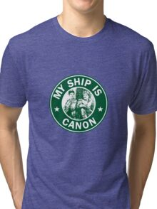 Starbucks/My Ship Is Canon- Merthur Tri-blend T-Shirt
