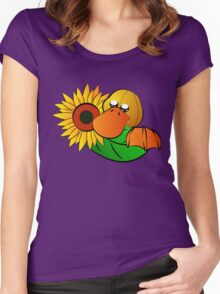 Platypus with Sunflower Women's Fitted Scoop T-Shirt