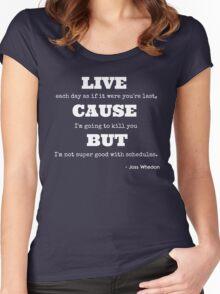 Joss Killing Schedule- WHITE Women's Fitted Scoop T-Shirt