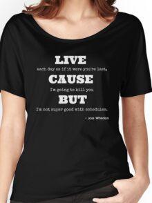 Joss Killing Schedule- WHITE Women's Relaxed Fit T-Shirt