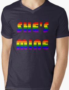 She's Mine Rainbow Mens V-Neck T-Shirt