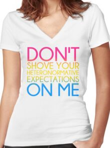 Heteronormative Expectations (pan) Women's Fitted V-Neck T-Shirt