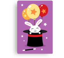Rabbit in magicians hat with balloons and stars Canvas Print