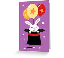 Rabbit in magicians hat with balloons and stars Greeting Card