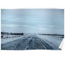 Icy road in Iceland Poster