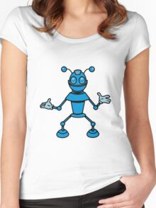 Robot funny cool toys funny antennas comic Women's Fitted Scoop T-Shirt