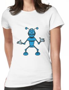 Robot funny cool toys funny antennas comic Womens Fitted T-Shirt