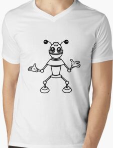 Robot funny cool toys funny antennas comic Mens V-Neck T-Shirt
