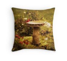 The Birdbath Throw Pillow