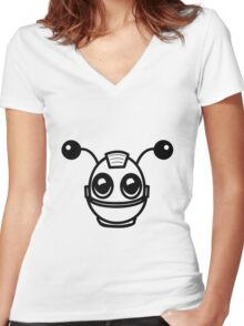Robot funny cool toys fun antennas Women's Fitted V-Neck T-Shirt