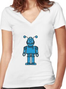 Funny cool robot toy fun Women's Fitted V-Neck T-Shirt