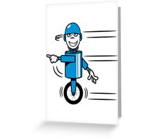 Funny cool fast funny goofy robot comic Greeting Card