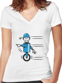 Funny cool fast funny goofy robot comic Women's Fitted V-Neck T-Shirt