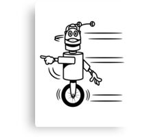 Funny cool fast funny robot comic Canvas Print