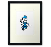Funny cool comic wheels funny robot Framed Print