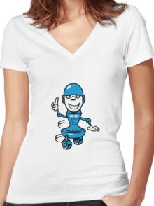 Funny cool comic wheels funny robot Women's Fitted V-Neck T-Shirt