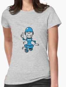 Funny cool comic wheels funny robot Womens Fitted T-Shirt