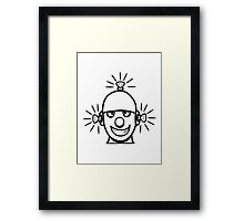 Funny cool wheels pears comic funny robot Framed Print