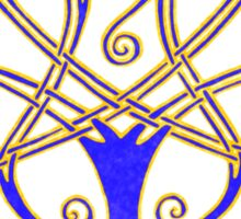Tree of Life - Blue - gold border  Sticker