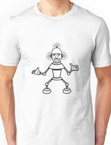 Robot funny cool light up comic fun Unisex T-Shirt