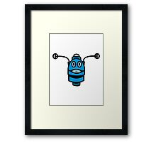 Funny cool robot head funny comic Framed Print
