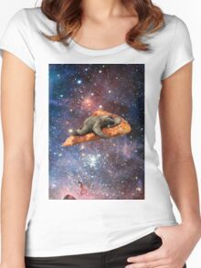 Pizza Sloth In Space Women's Fitted Scoop T-Shirt
