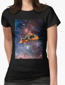 Pizza Sloth In Space Womens Fitted T-Shirt
