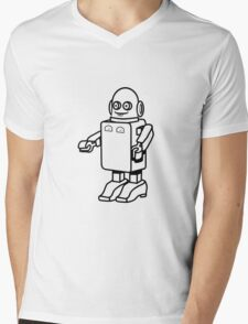 Robot funny cool design funny cartoon Mens V-Neck T-Shirt