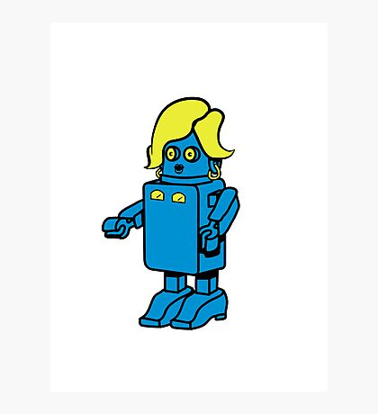 Robot funny cool design woman funny comic Photographic Print