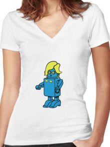 Robot funny cool design woman funny comic Women's Fitted V-Neck T-Shirt
