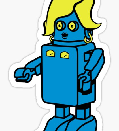 Robot funny cool design woman funny comic Sticker