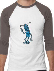 Robot funny cool attention fun comic Men's Baseball ¾ T-Shirt