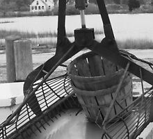 Patent Tongs on Oyster Boat, Scotts Cove_BW by Hope Ledebur