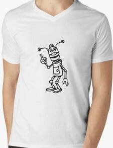 Robot funny cool attention fun comic Mens V-Neck T-Shirt